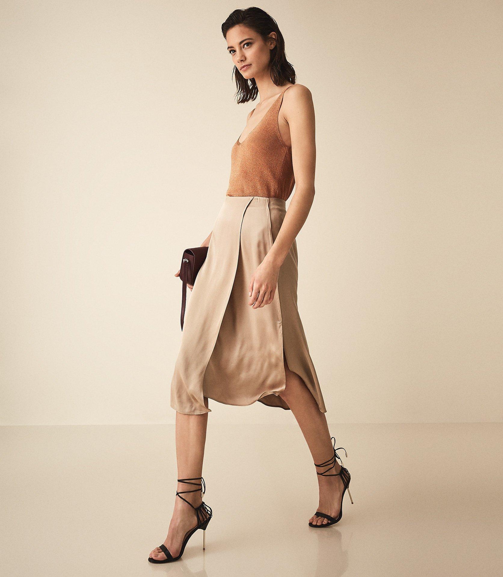 Reiss Amalie - Satin Midi Skirt in Gold