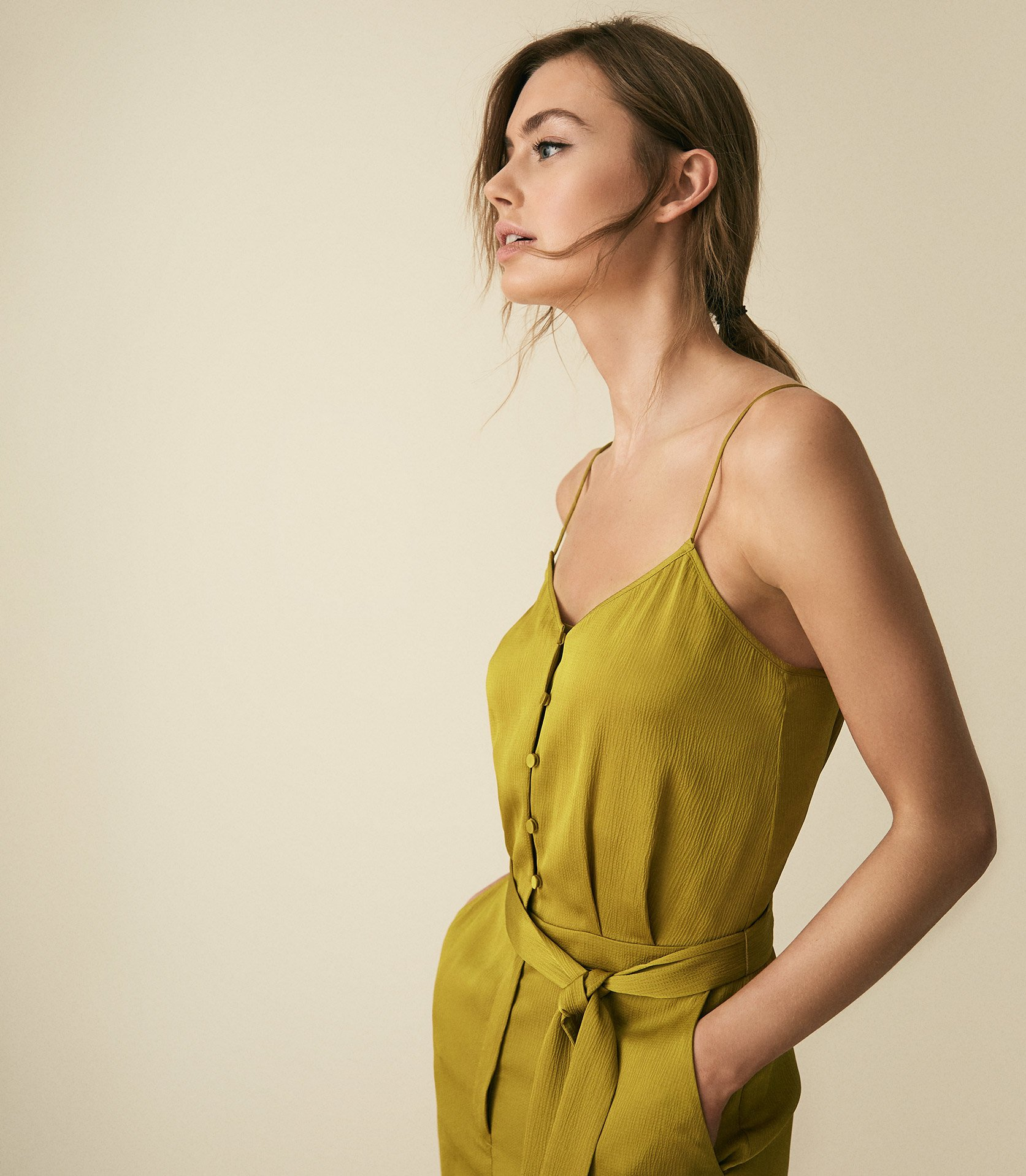 Reiss Tania - Button Detail Jumpsuit in Green