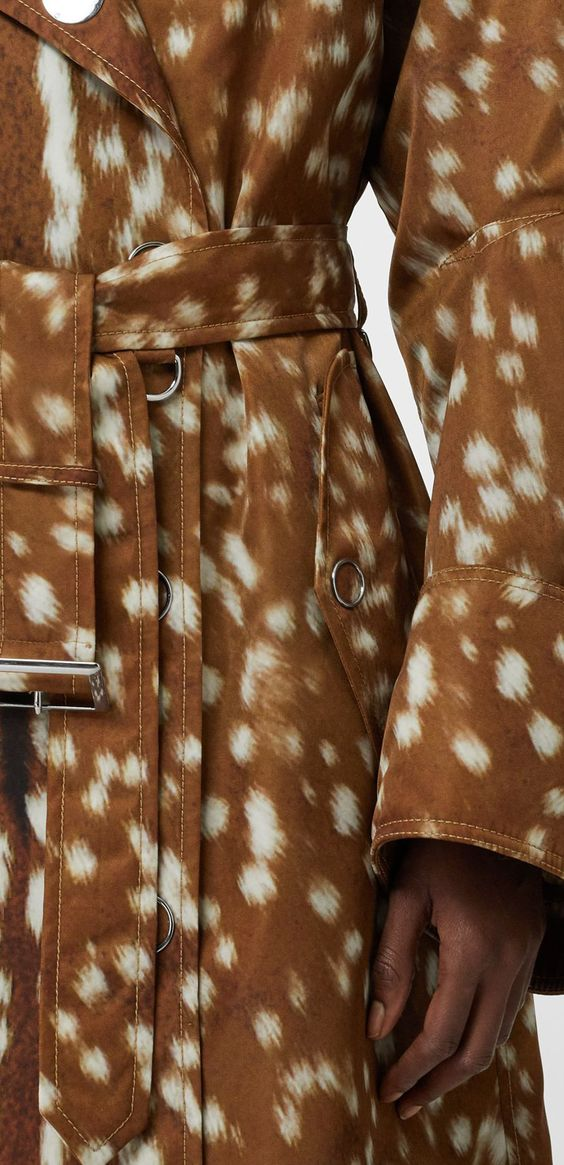 Exaggerated Cuff Deer Print Nylon Trench Coat