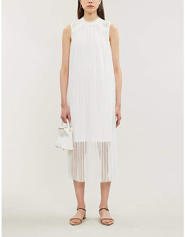 Claudie Pierlot Tikah sheer ruffled-trim tulle midi dress