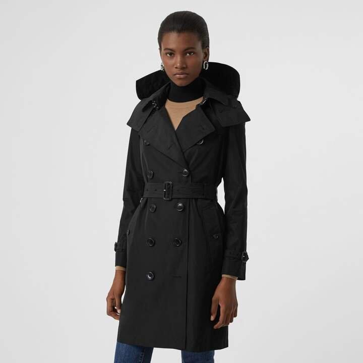 Burberry Detachable Hood Taffeta Trench Coat