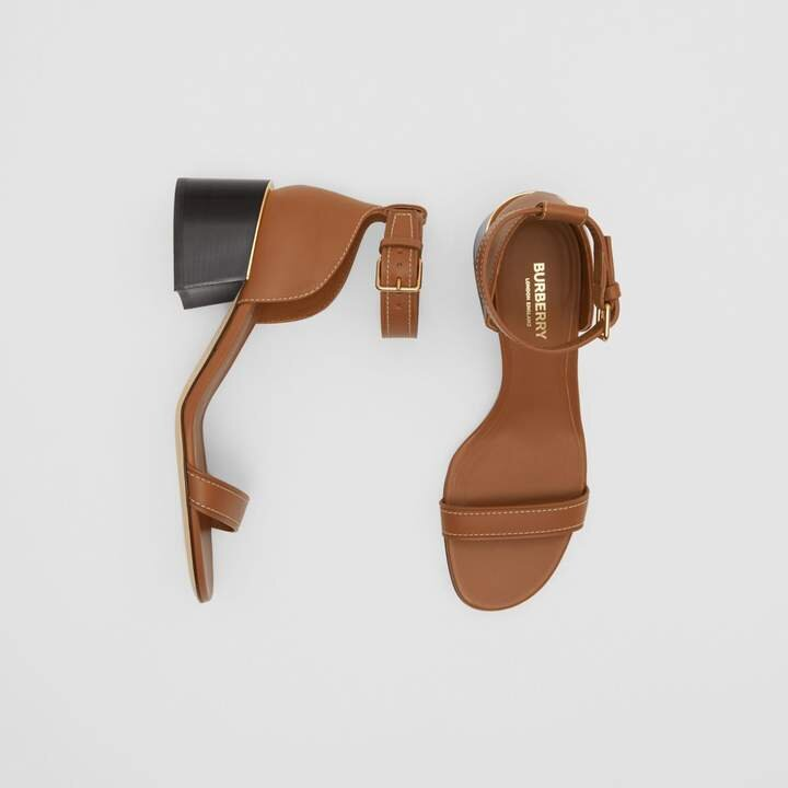 Burberry Gold-plated Detail Leather Block-heel Sandals .jpg