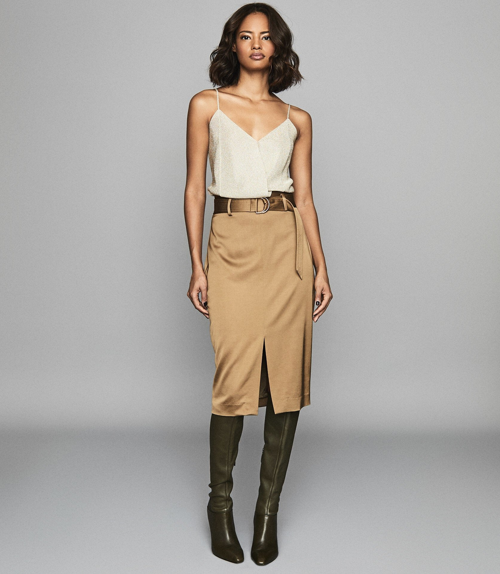Reiss Bryn - Satin Belted Midi Skirt in Gold