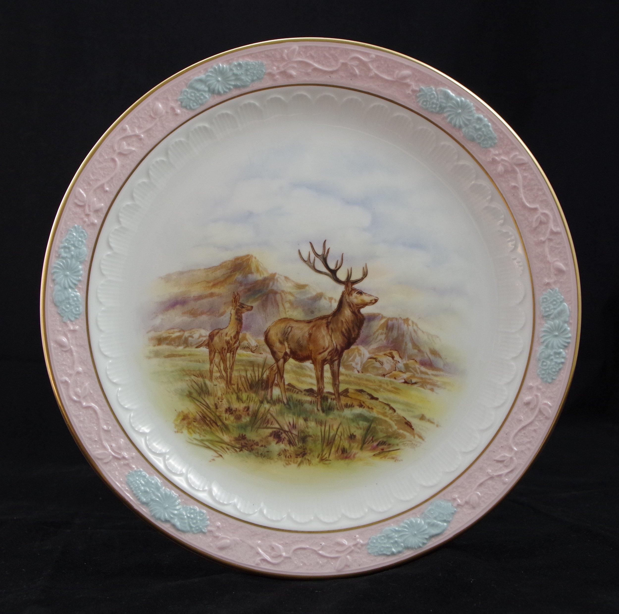 royal-crown-derby-embossed-rim-pink-blue-ground-stag-deer-scene-2