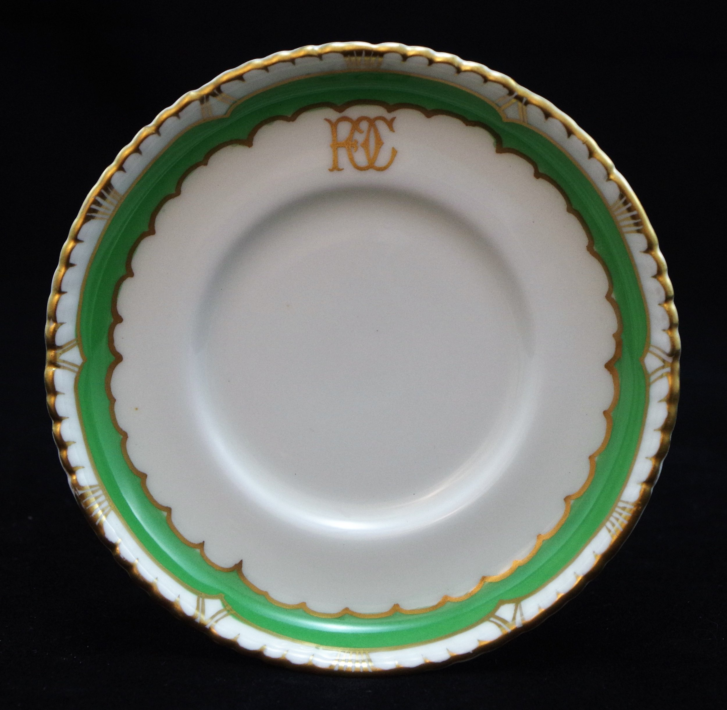 royal-crown-derby-saucer-gadroon-green-ground-FOC-monogram-A968