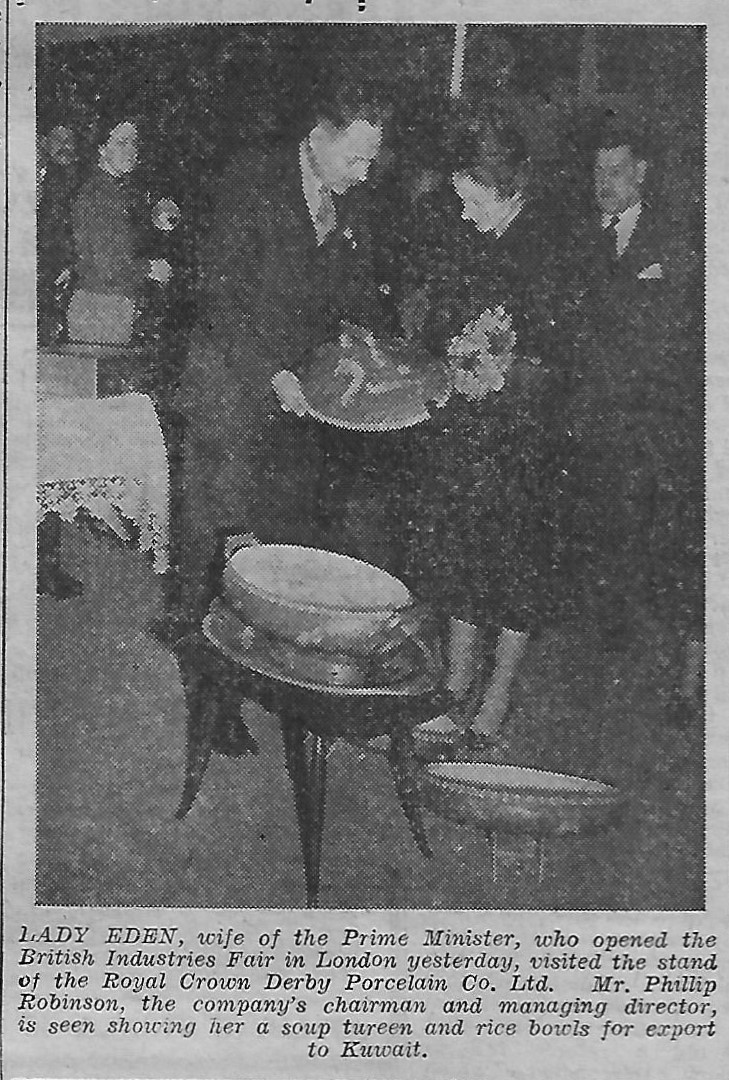 royal-crown-derby-lady-eden-phillip-robinson-opening-british-industries-fair-1956