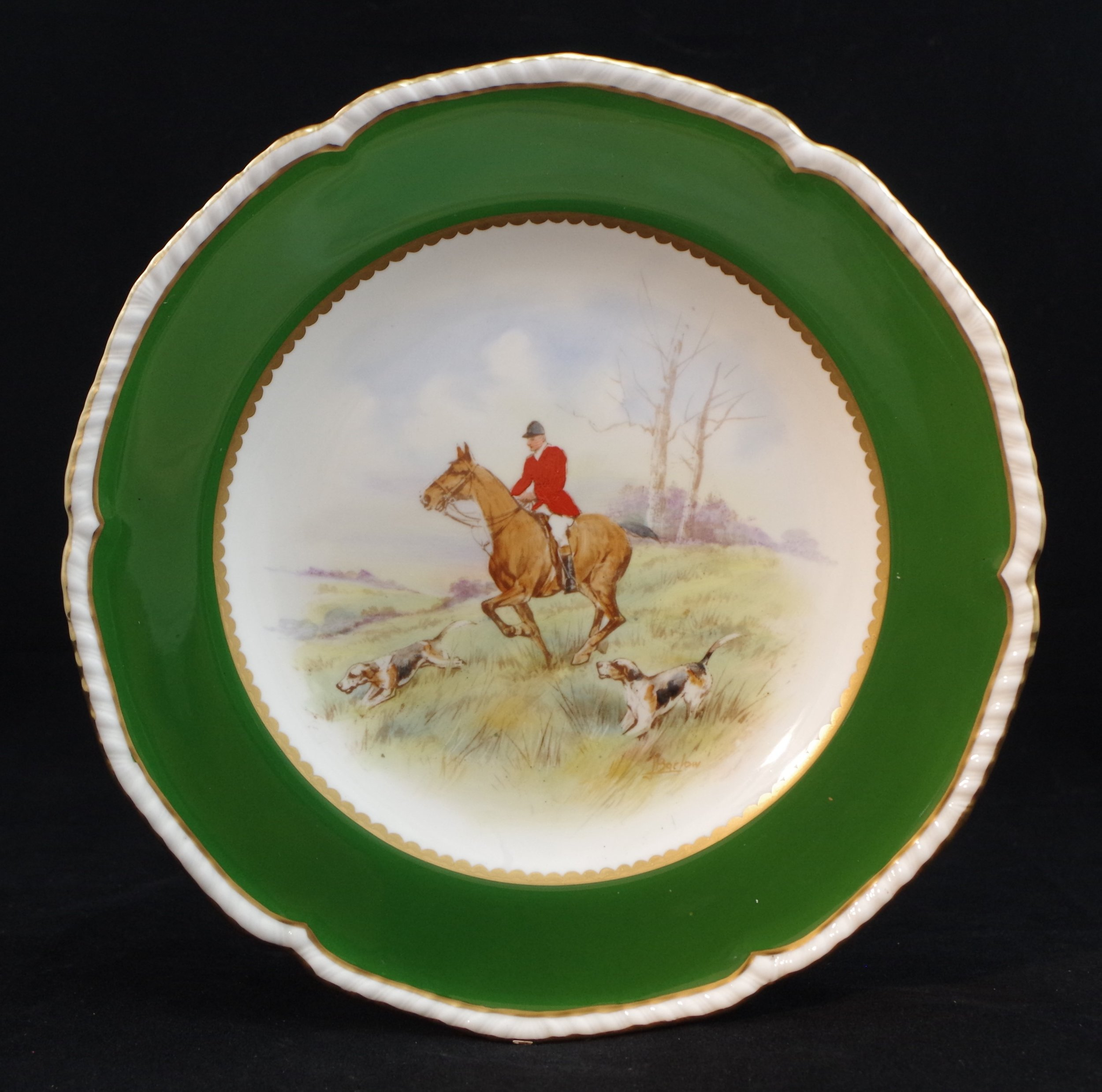 royal-crown-derby-gadroon-green-ground-hunting-scene-1