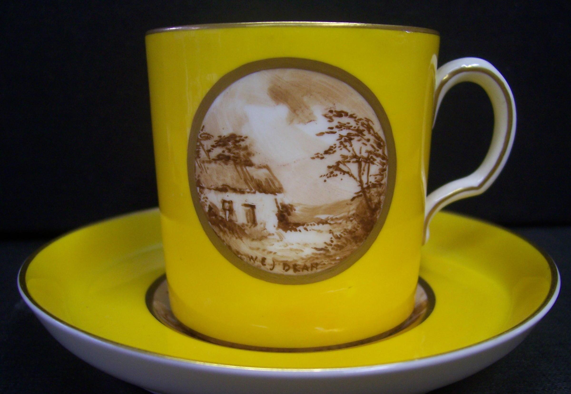 royal-crown-derby-edinburgh-yellow-oval-sepia-rural-scene-dean-A550-probably