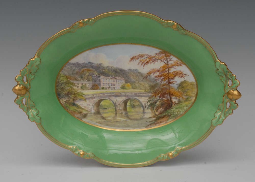 royal-crown-derby-cake-basket-1685-green-ground-dean-chatsworth-house-centre-chatsworth-lodge-no-3430-1939-40