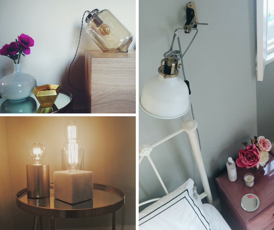 A selection of high street lighting that I have in my home. Clockwise from top-left: Glass bell light, BHS £25.  Brass/white reading wall light,    Ikea - £18.  Marble and gold table light trio , Next Home £38.
