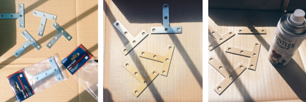 Spray paint the standard silver T-Plate fixings with a spray paint that can be used on exterior projects.