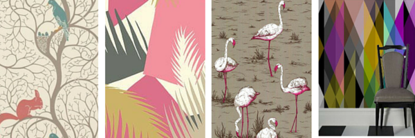 'Squirrell and Dove' by Sanderson. 'Deco Palm', 'Flamingo' and 'Geometric' all by Cole & Son.