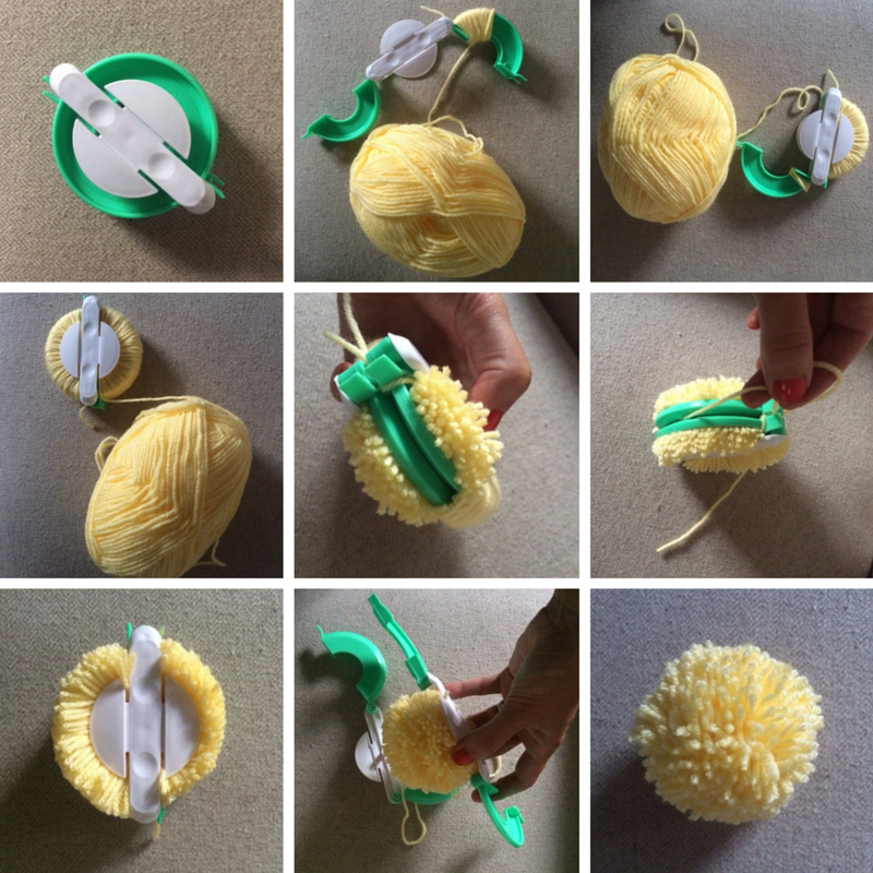 Open up your pom pom maker so it makes an 'S' shape. Start wrapping your wool around the top part of the S (the more wool you wrap, the fluffier the pom pom). Once the top part of the 'S' is covered in wrapped wool, close this section and start wrapping the wool around the second 'S' section. Once finished, close the second part of the pom pom maker and cut the thread to your ball of wool. With a sharp pair of scissors, cut between the middle of the wrapped wool where the join of the pom pom maker is. Take an extra piece of wool and wrap it around the join of the pom pom maker and pull it tight into a knot, so your pom pom wool pieces are secure. Unclasp of the green 'S' shapes of the pom pom maker and pull the pom pom maker apart in the middle. Pull out your pom pom and reshape it and trim it if needed.