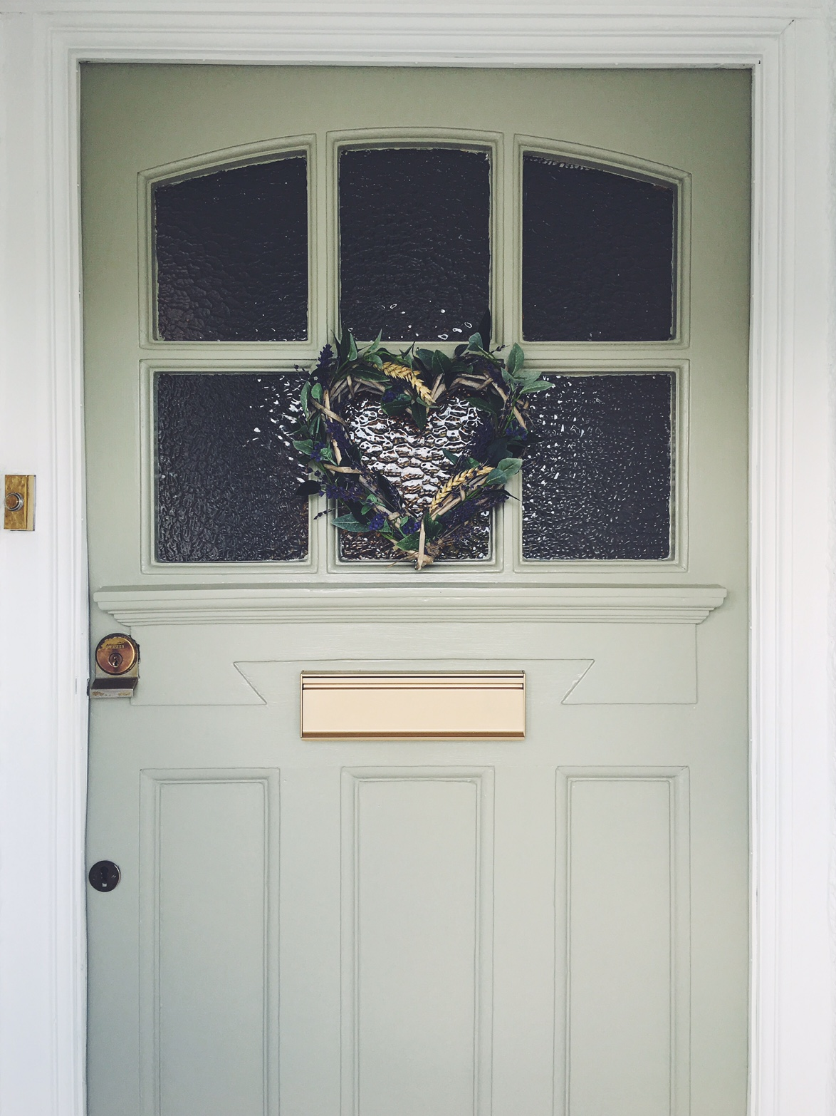 Door painted in French Gray by Farrow & Ball.