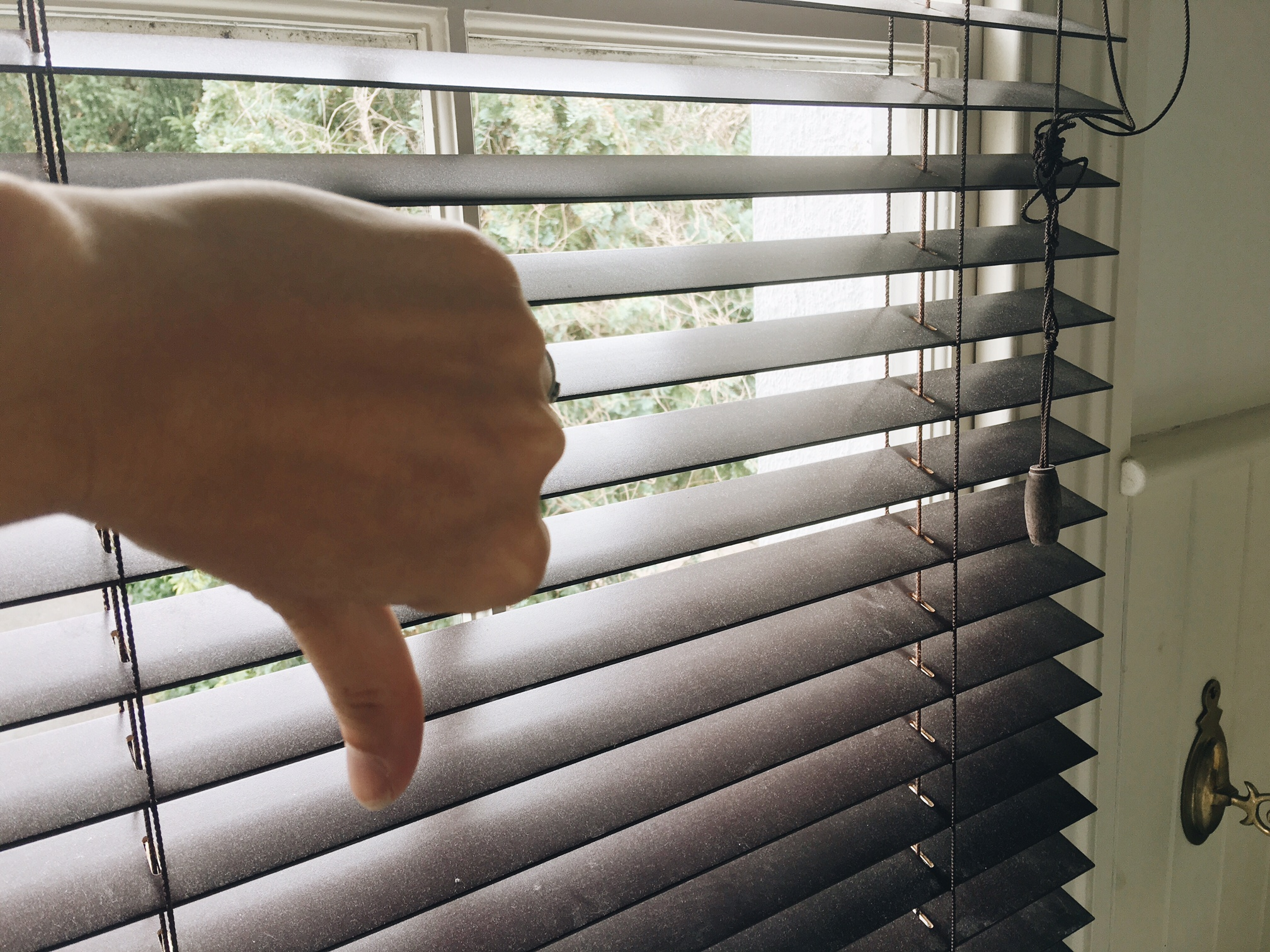 I hated these dirty, dangerous, tangled crummy brown blinds!