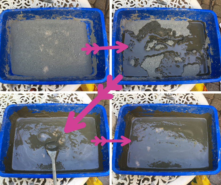 Pour the powdered cement up to your marking line in your mould. Add water, quickly stir it together, then gently shake the mould to spread out the mixture and leave until dry.