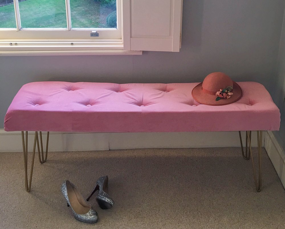 How To DIY This Pink Velvet & Gold Legged Bedroom Bench From ...