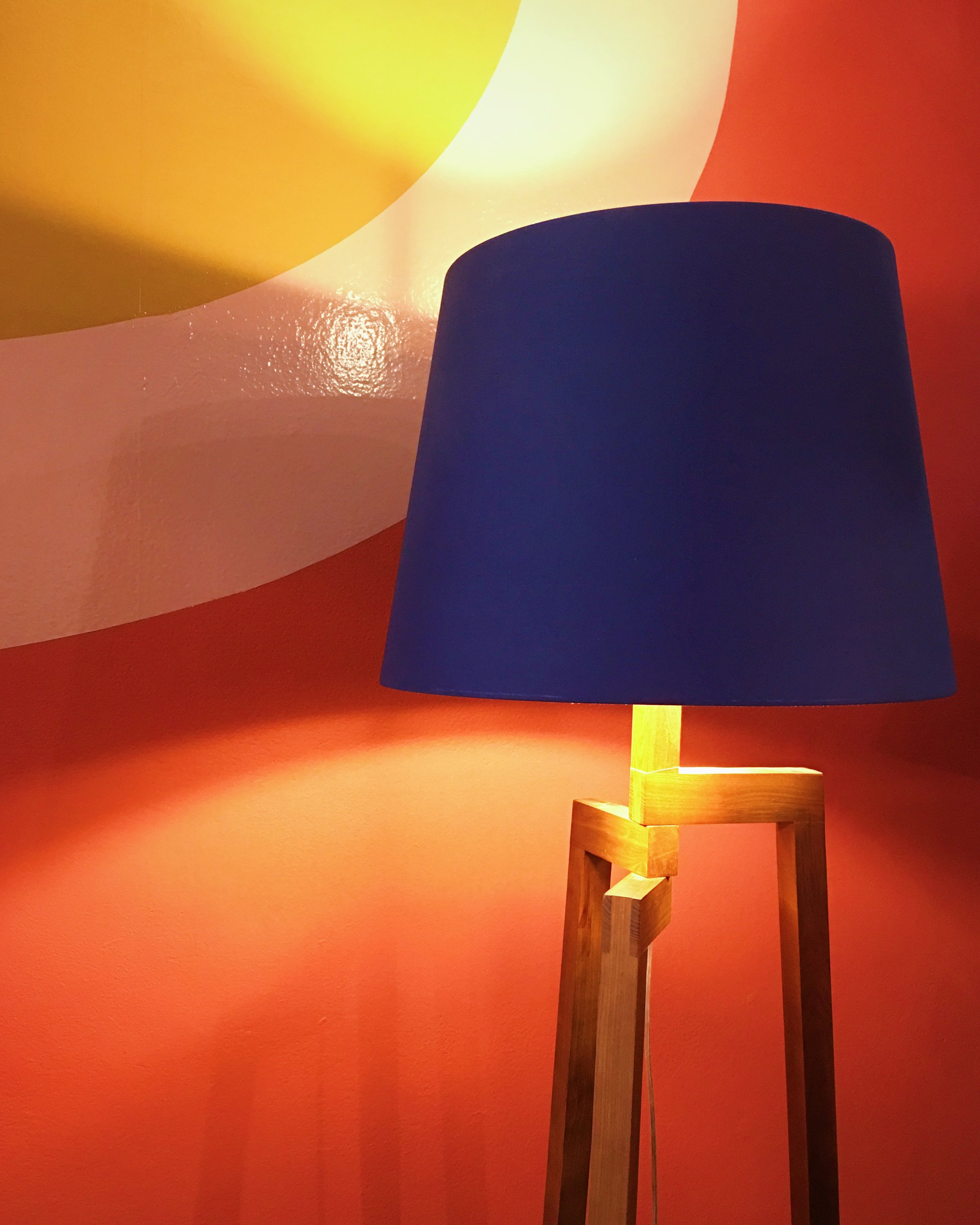 Dylan lamp base, £95. Drum silk shade, £55.