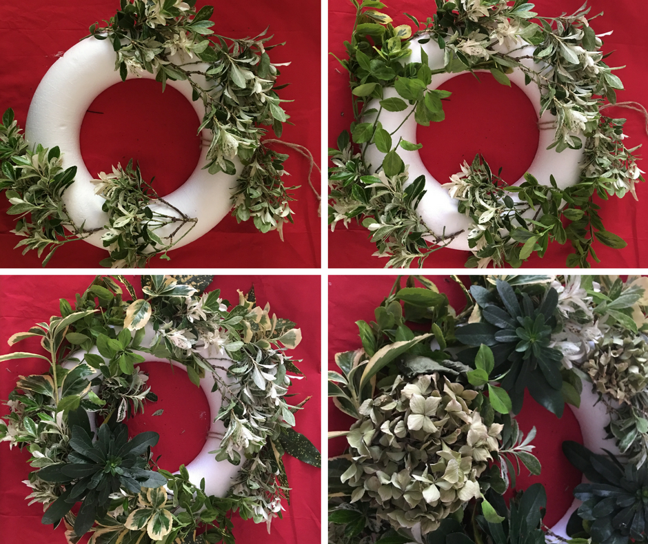 Build up your wreath. Make sure the foliage is attached in a clockwise pattern.