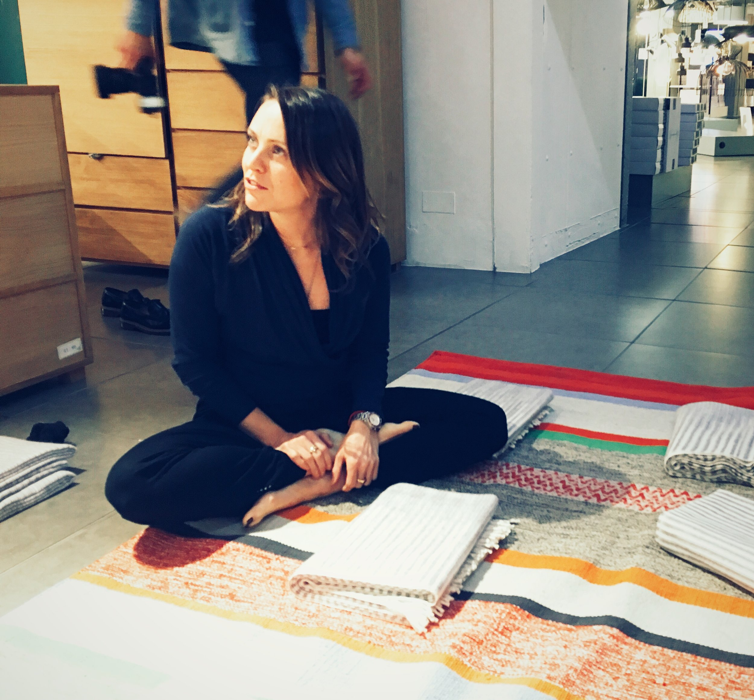 Yoga-to-sleep extraordinaire  Lisa Sanfilippo  .This is the Coates rug, from £90, Habitat.