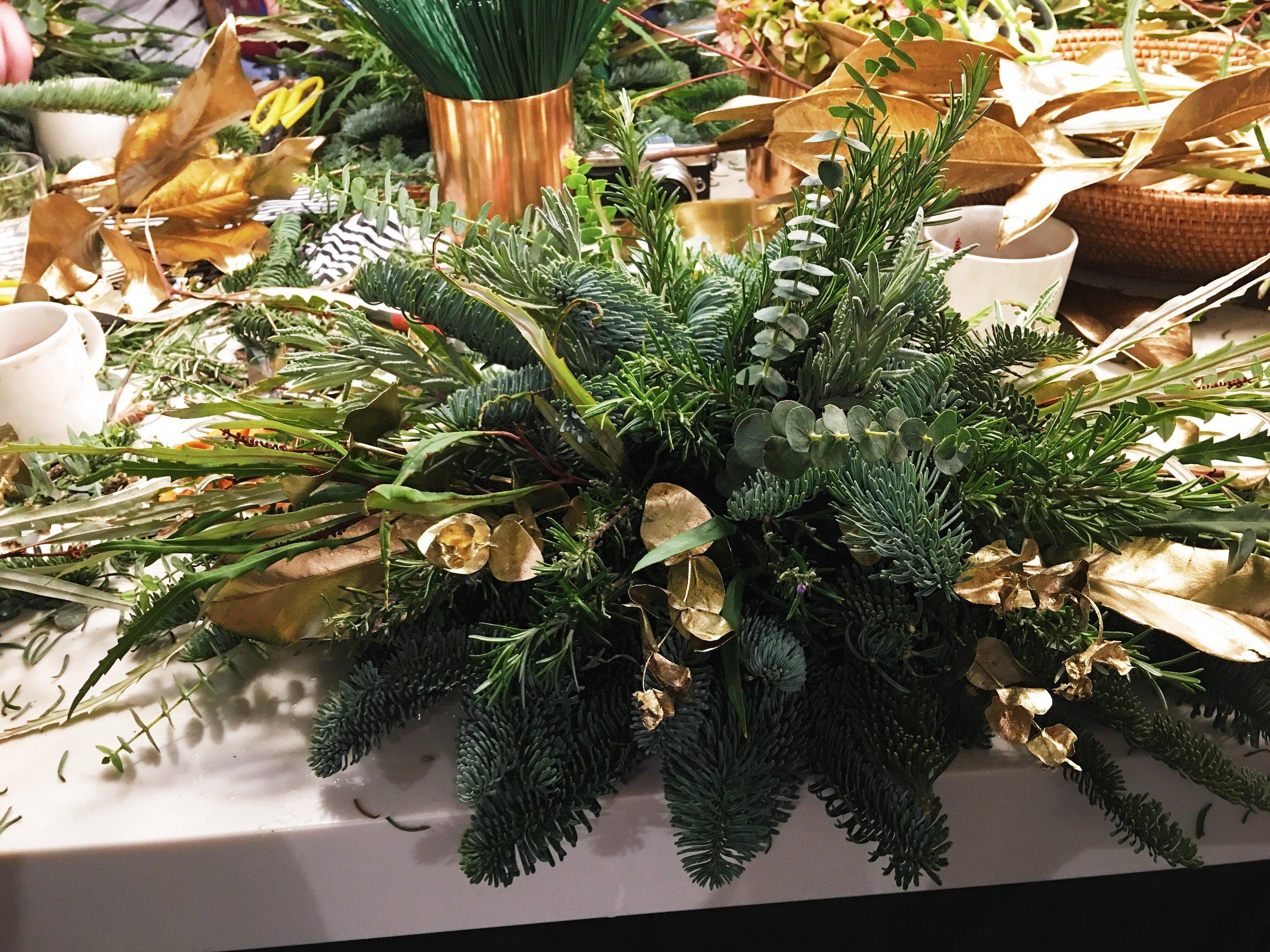 Add metallic foliage sparingly.