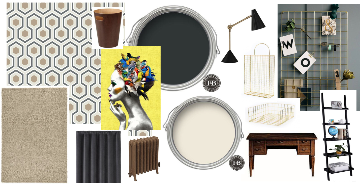 This is the mood board for our home office re-vamp. As the office is used both by myself and my husband, we needed to create an organised, masculine yet desirable decor we both enjoy! The wallpaper is  Hicks Hexagon by Cole & Son