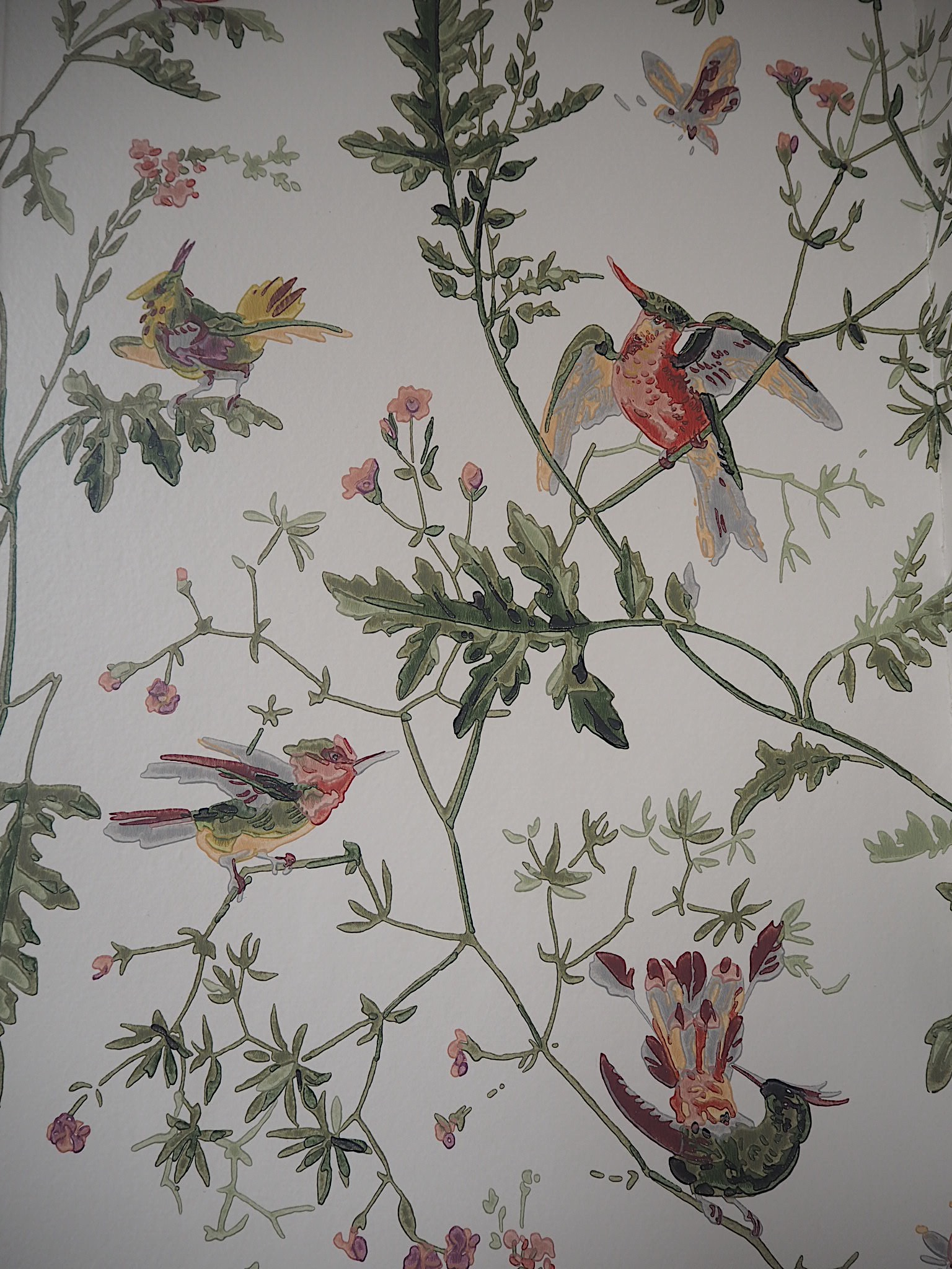The wallpaper I put up in my bathroom is called    'Hummingbirds' by Cole & Son.    You can buy it    here.
