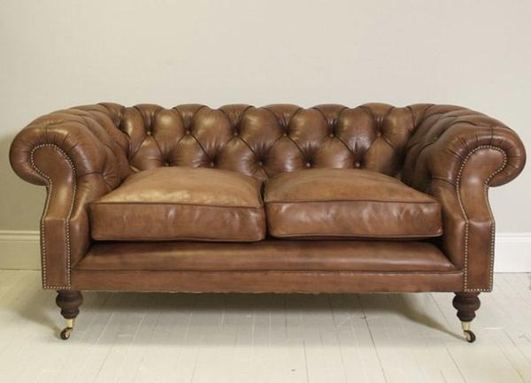 Devonshire Chesterfield Sofa in Mocha Tan Hand Dyed Leather, from £1,799.