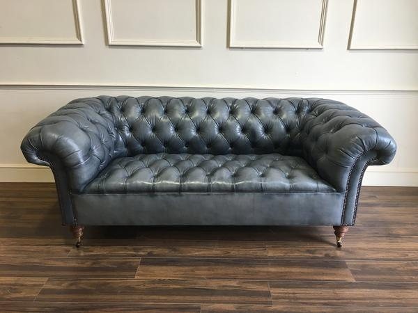 Goderich Chesterfield Sofa in Hand Dyed Elephant Grey, from £1,799.