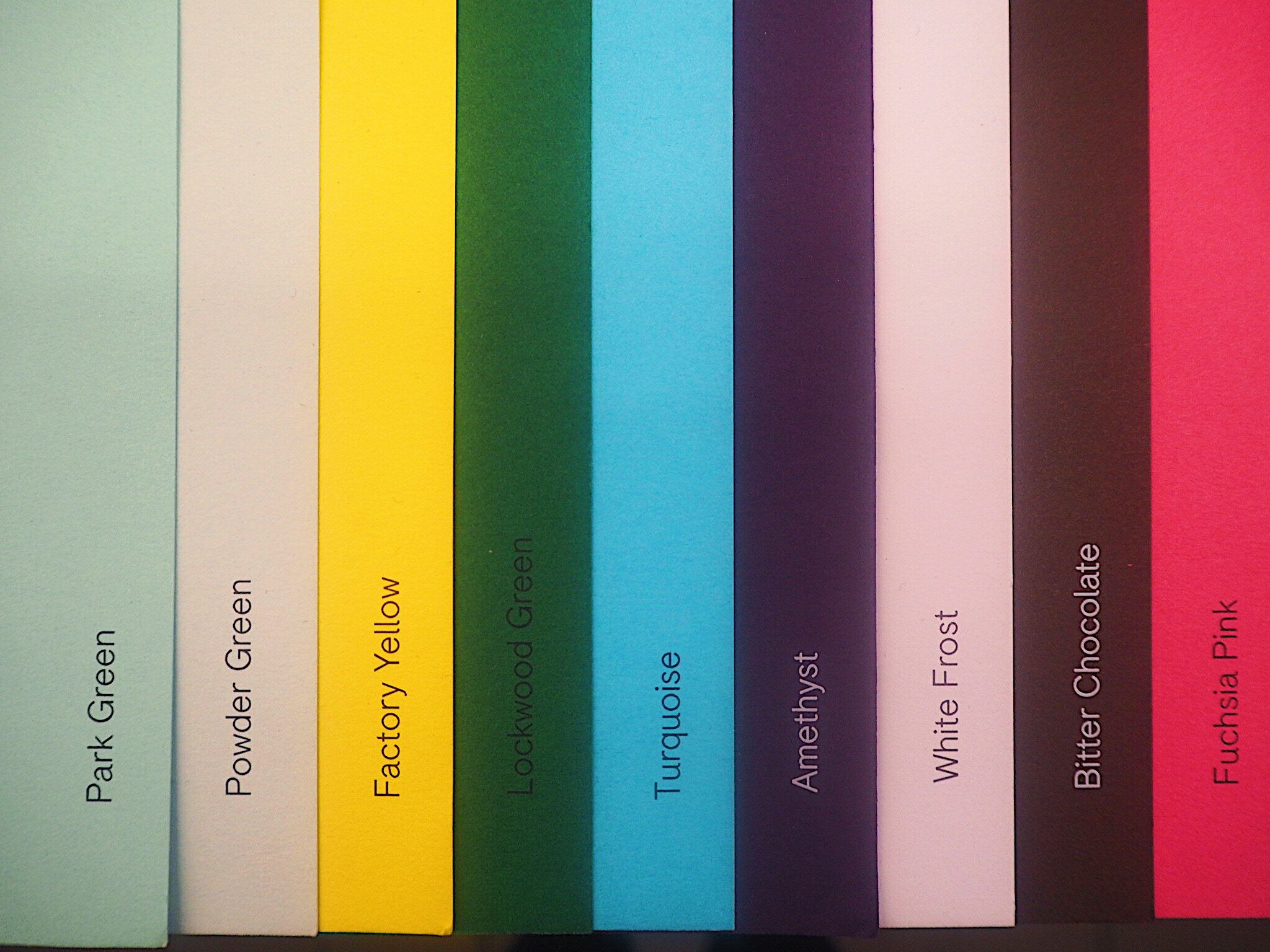 An example of the colour dyes added to make G . F Smith's wide range of coloured papers.
