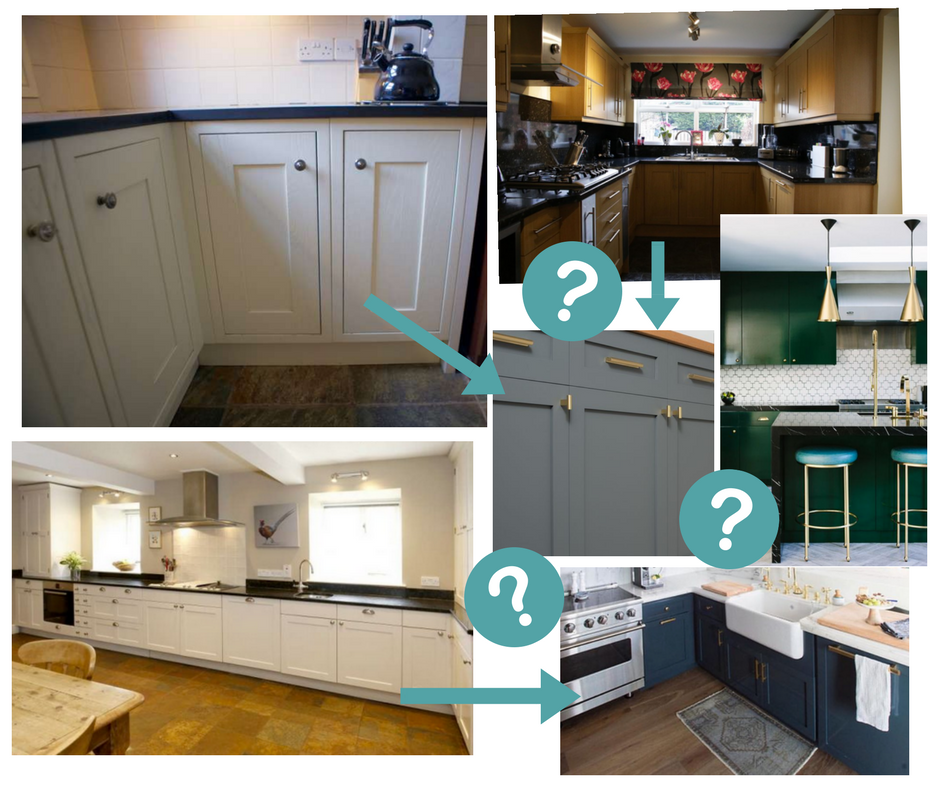 Clockwise from bottom left -    kitchens for sale    on Used Kitchen Exchange. Middle picture by School House Electric & emerald green kitchen by Refinary29.UK (Pinterest). Bottom right picture by @lyndenlane on Instagram.