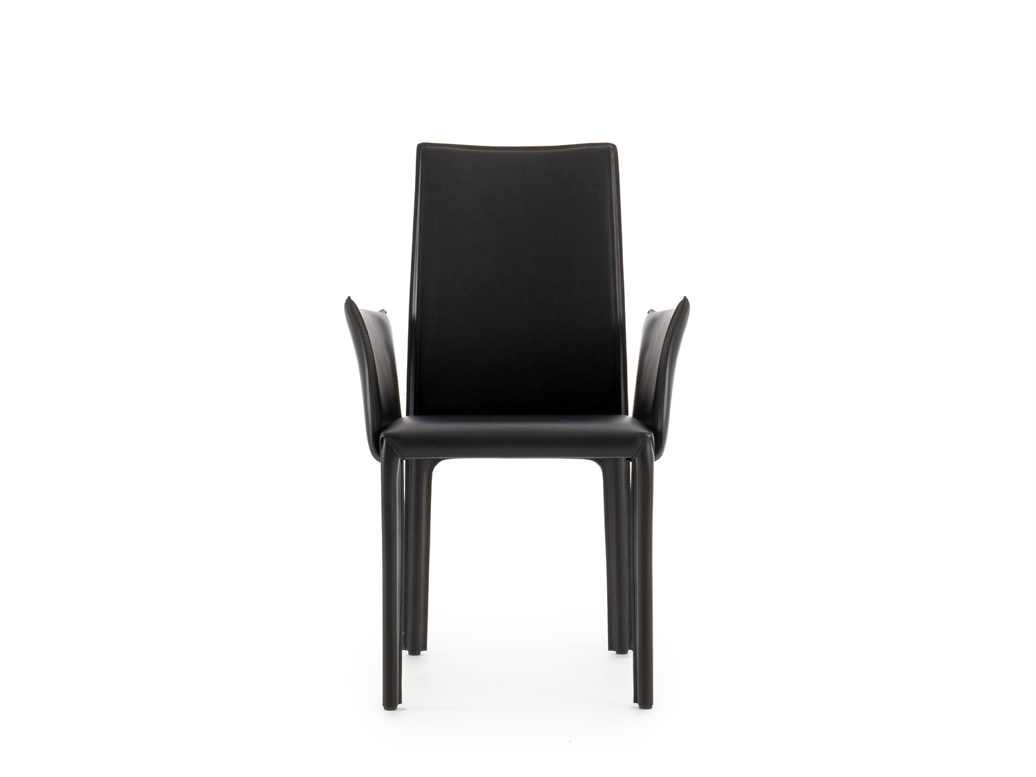The  Annabeth modern dining chair  with visible stitches, upholstered in hide-leather.