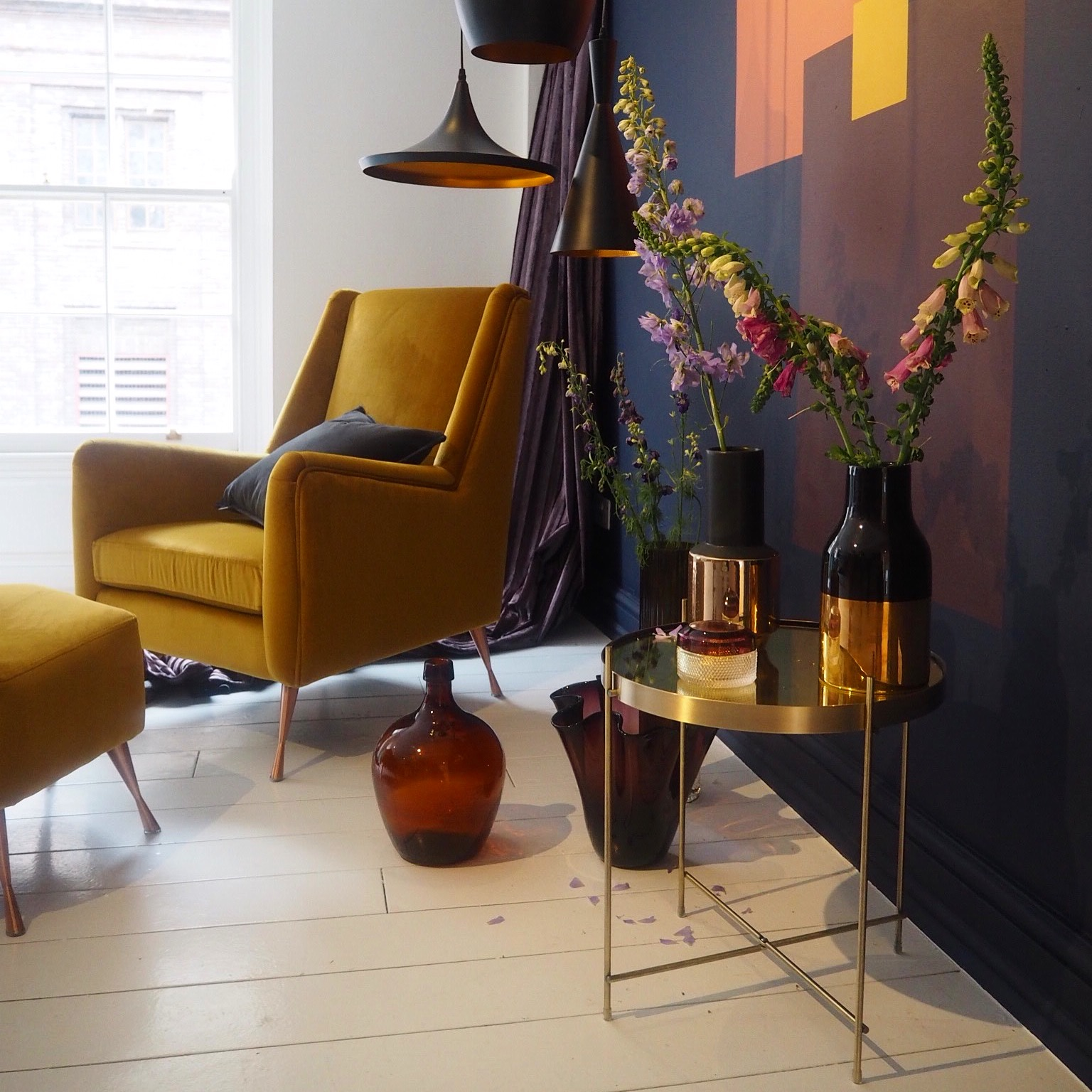 'Alzira' gold side table   , Dwell, £49 (currently on sale). 'Wing' armchair , as before, DFS.