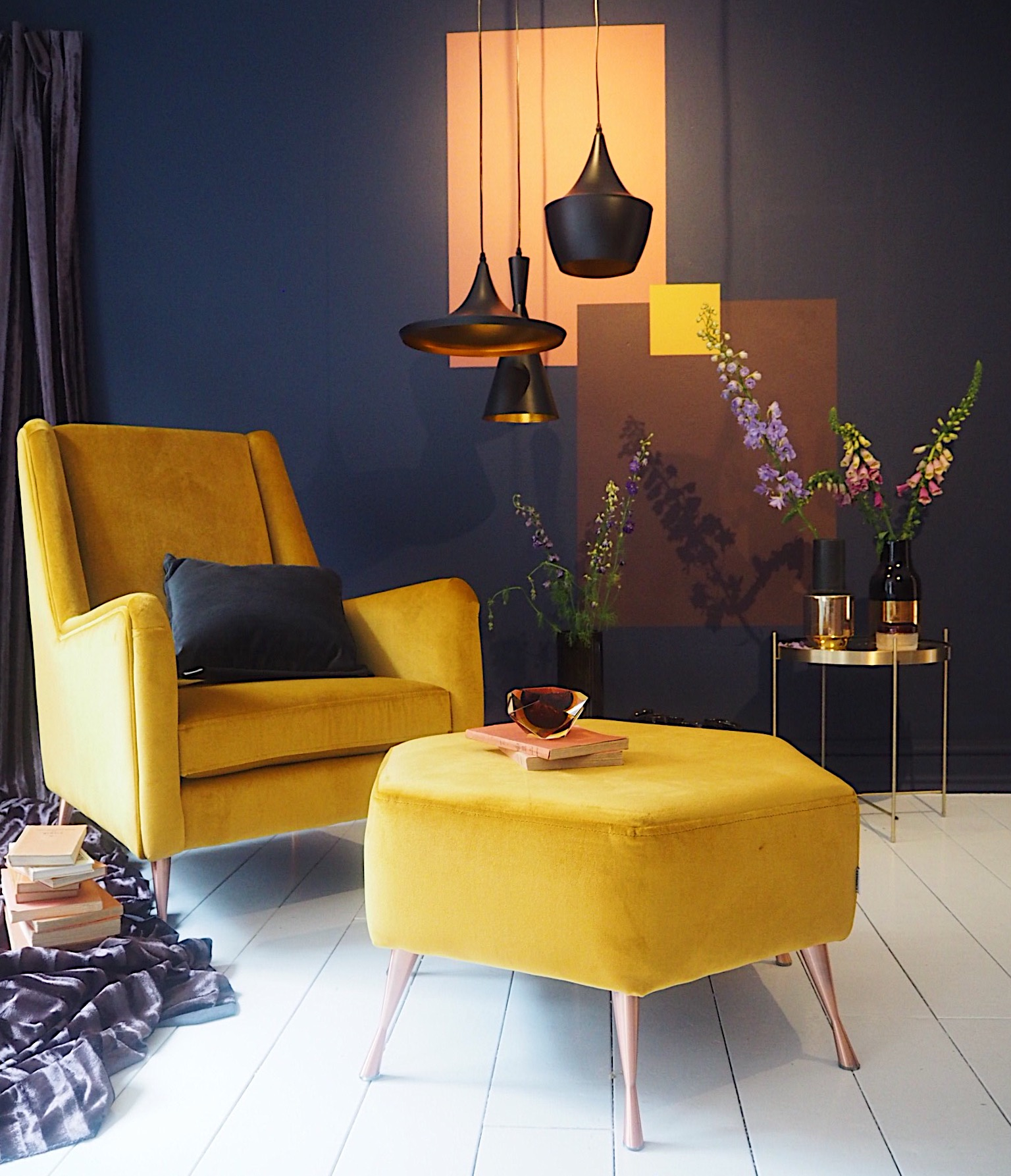 '   Wing'    chair in mustard velvet, £379, DFS