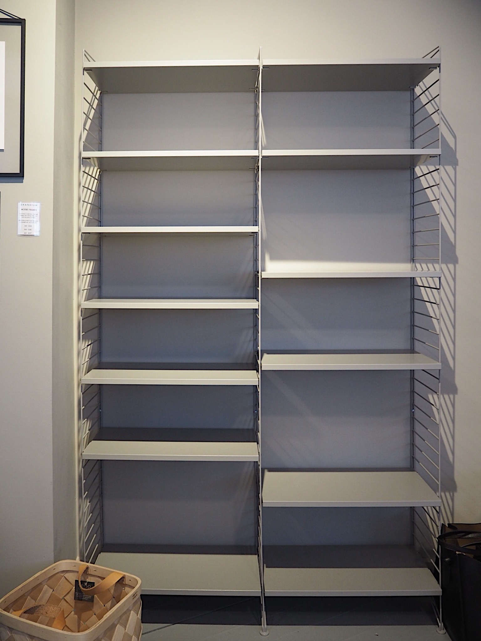 My empty String shelves! All ready for styling.
