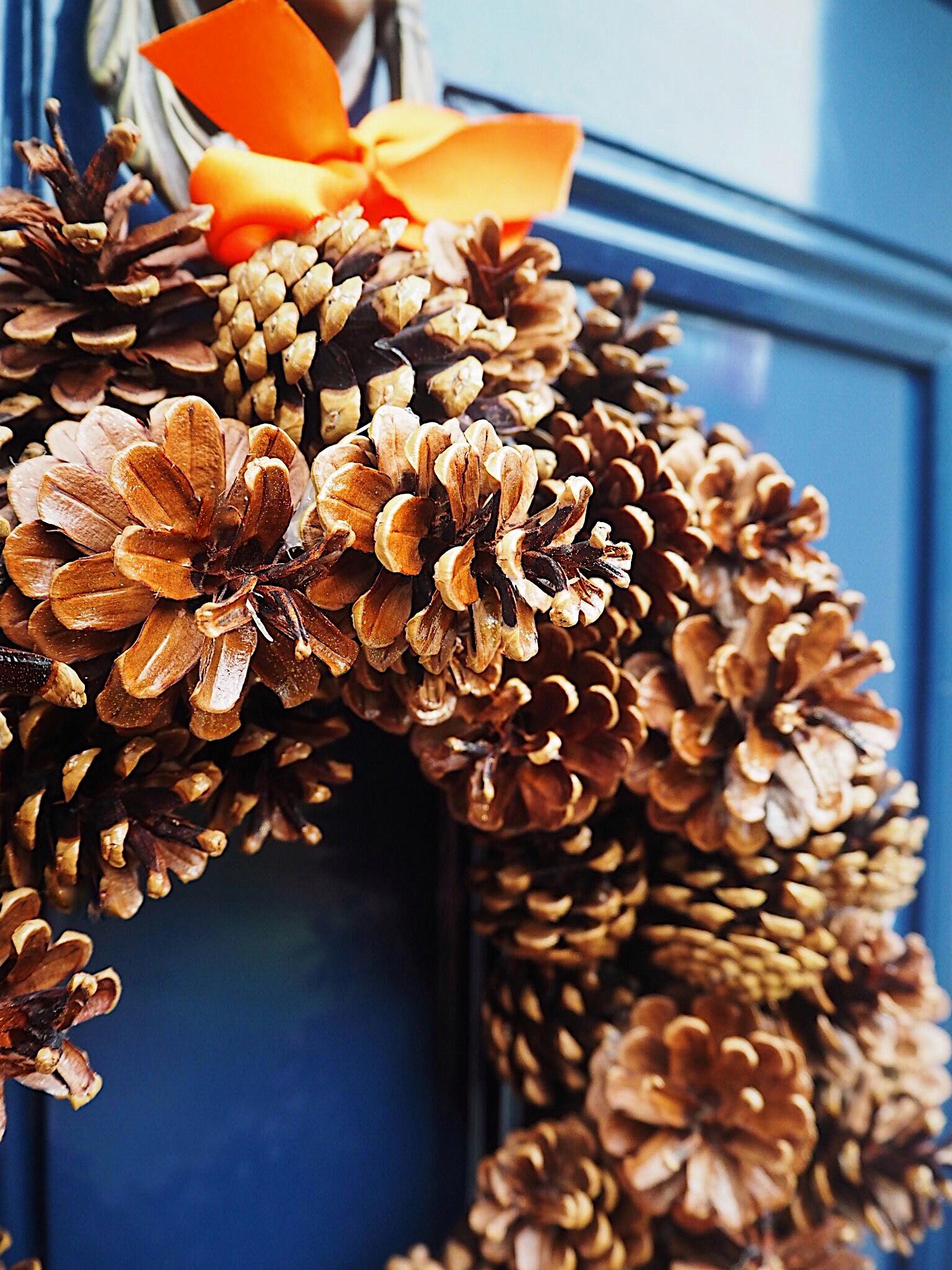 DIY Autumn Fir Cone Door Wreath