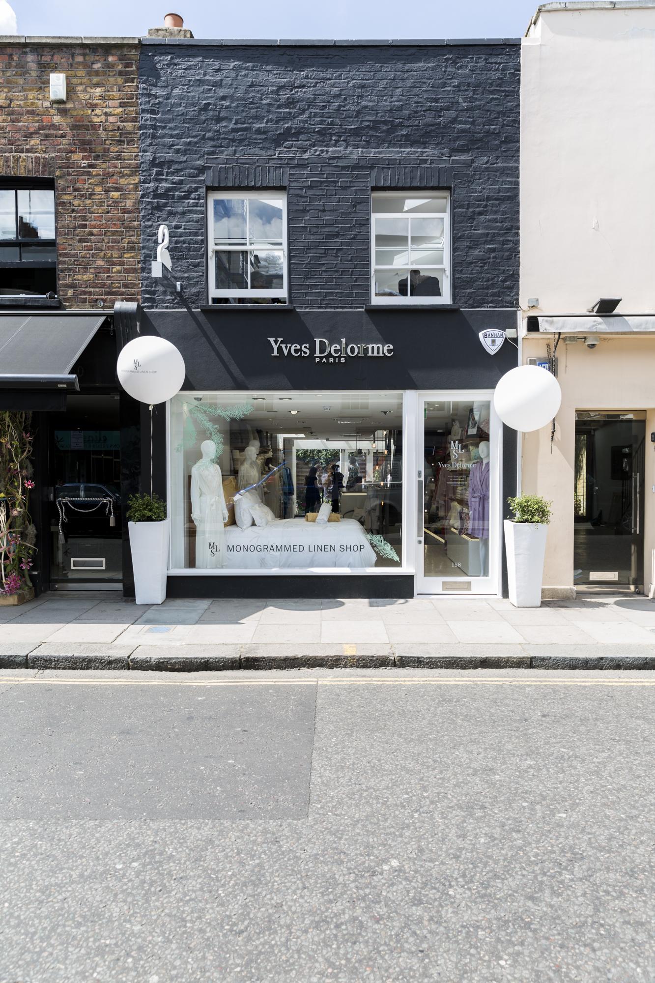 The Yves Delorme Monogrammed linen shop, 158 Walton Street, London.