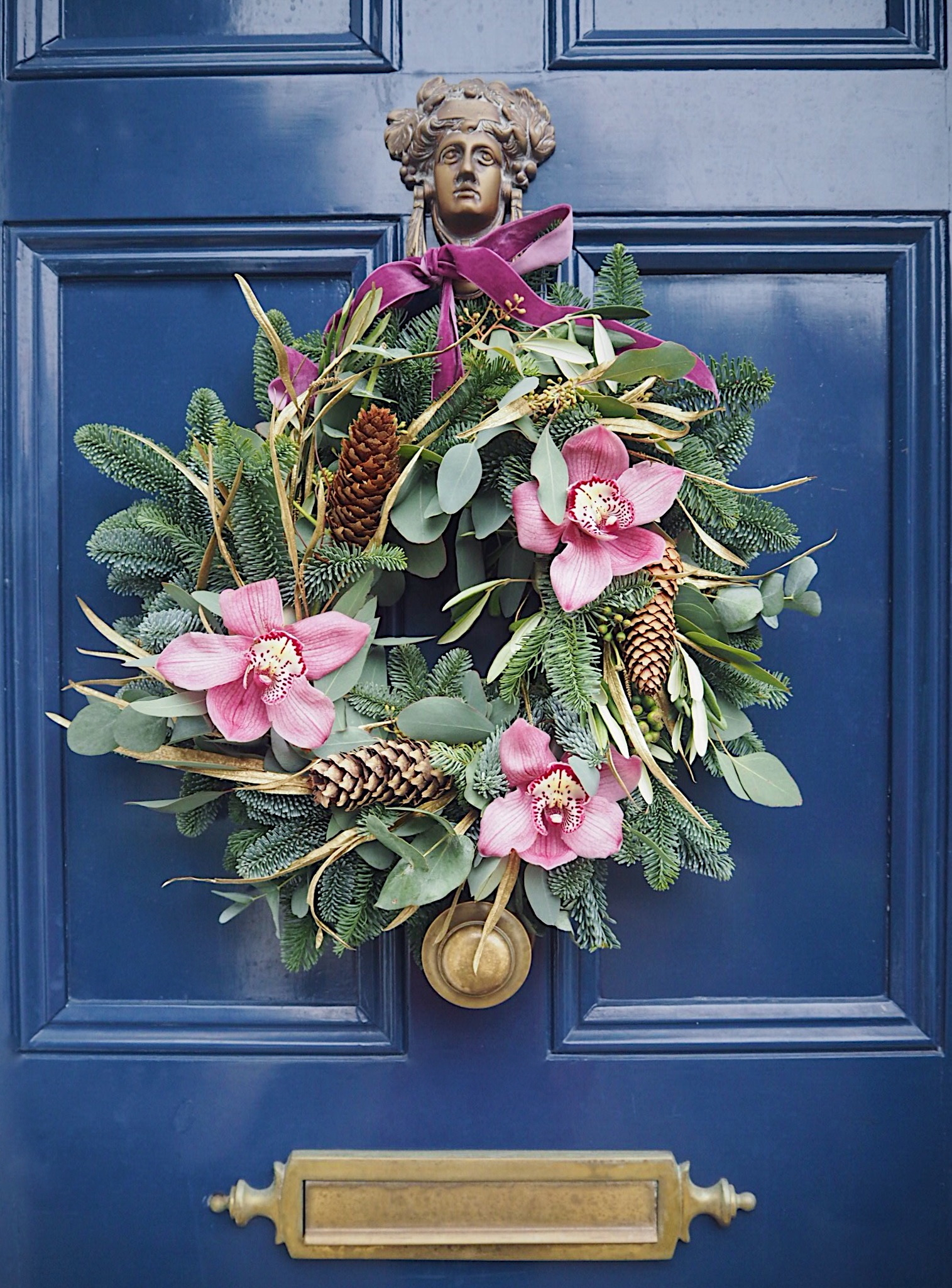 pink orchid wreath