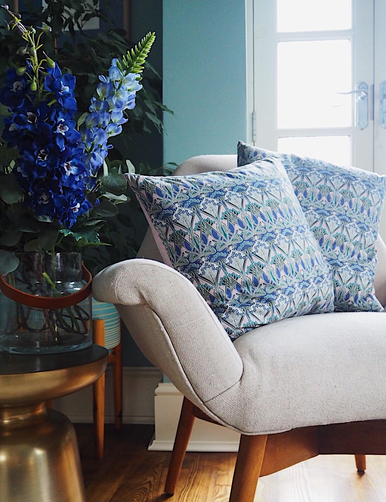 Liberty Print Cushion - £28 -    Poppy & Honesty