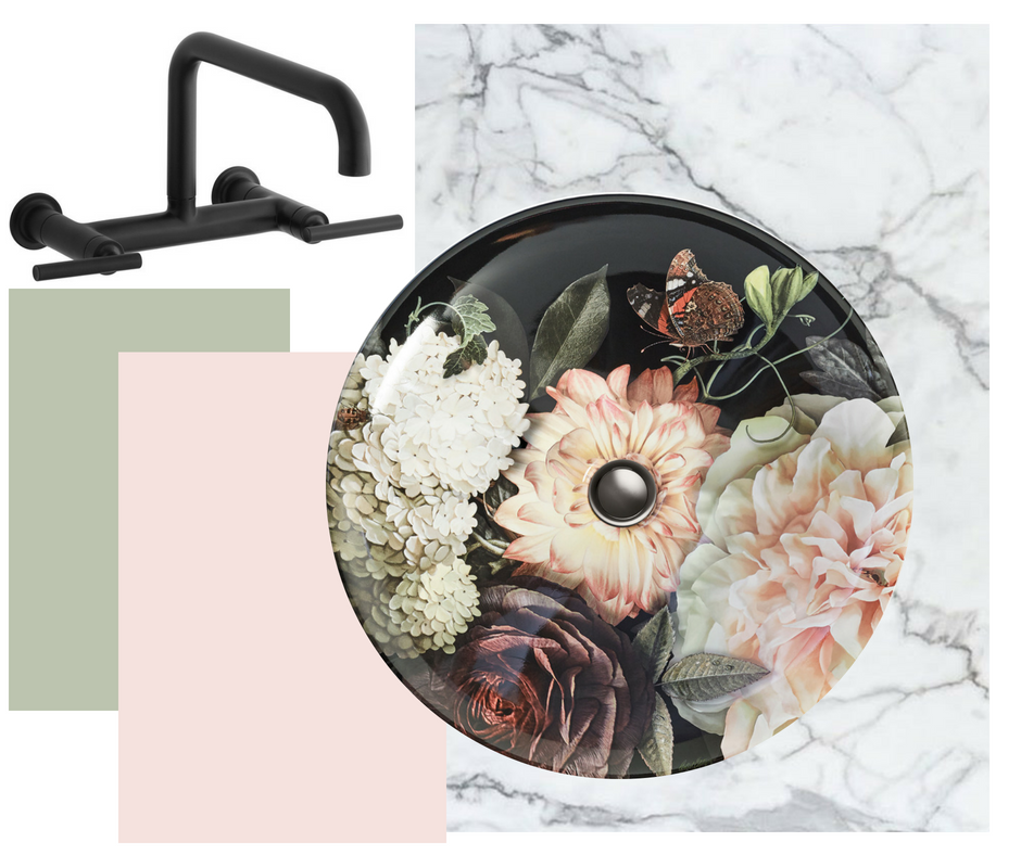 'Blush Floral' Dutchmaster sink and Purist Wall Mount Bridge Tap, both Kohler for West One Bathrooms.