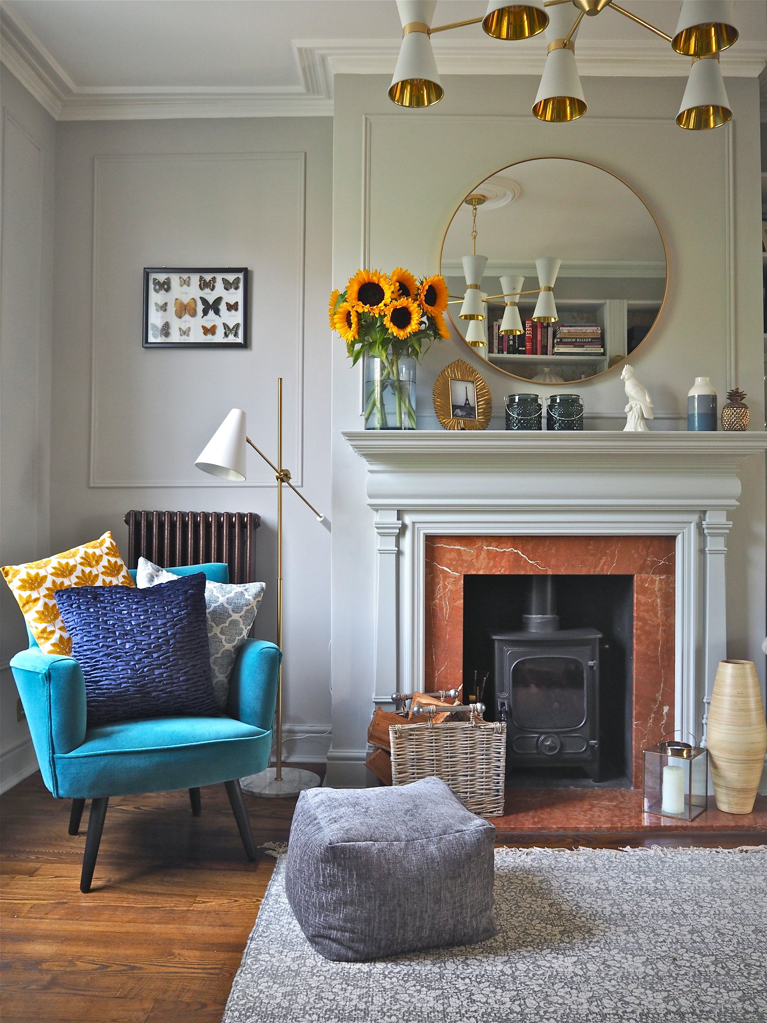 All the cushions, the pouf, plus decorative items pictured are by B&Q.