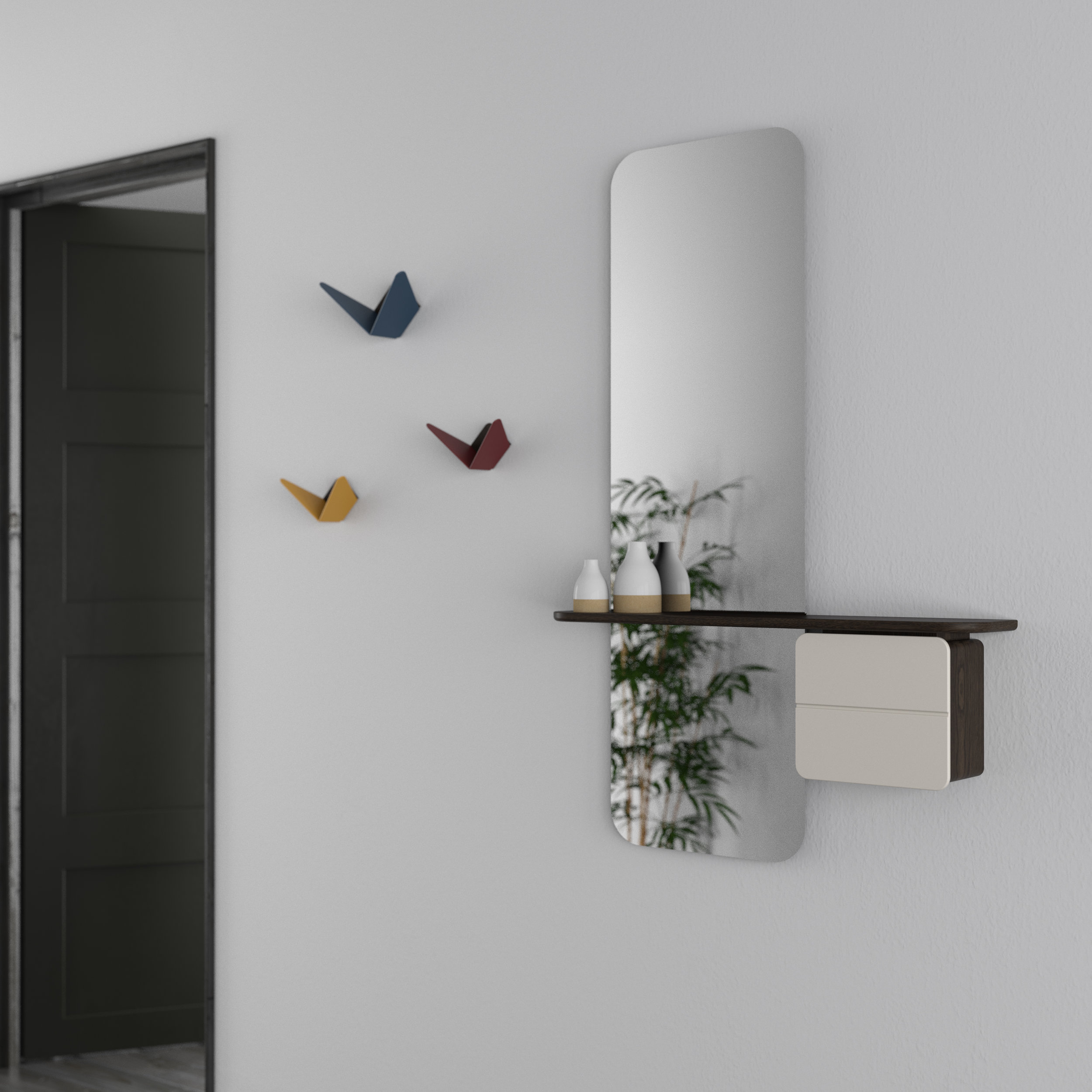 Top, 'Lean On Me' storage rail, below, 'One More Look' mirror and shelf unit, plus butterfly hooks, all Umage.