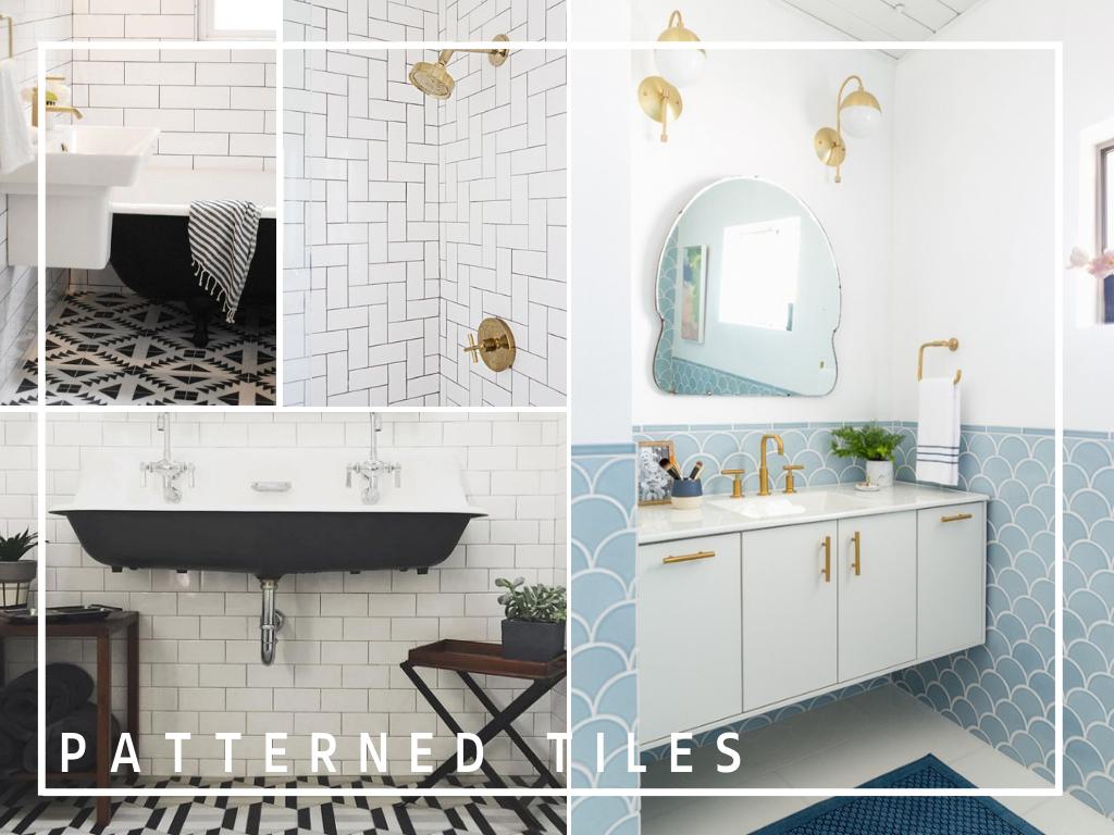 patterned tiles in bathroom