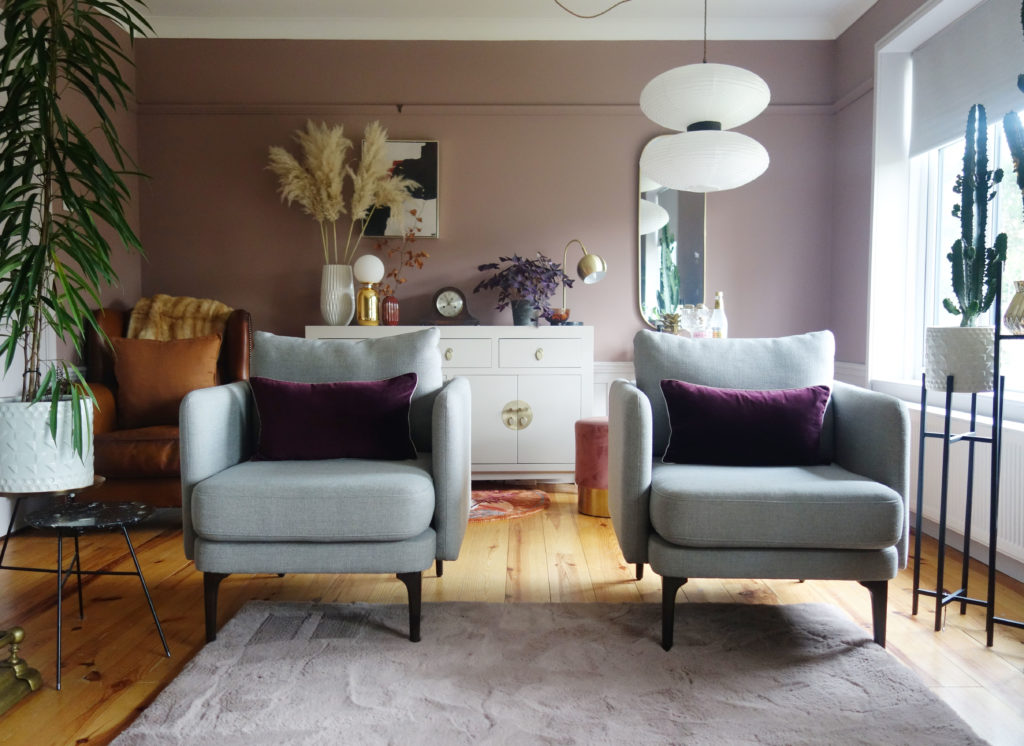Sulking Room Pink used in a lounge makeover by    Green & Mustard