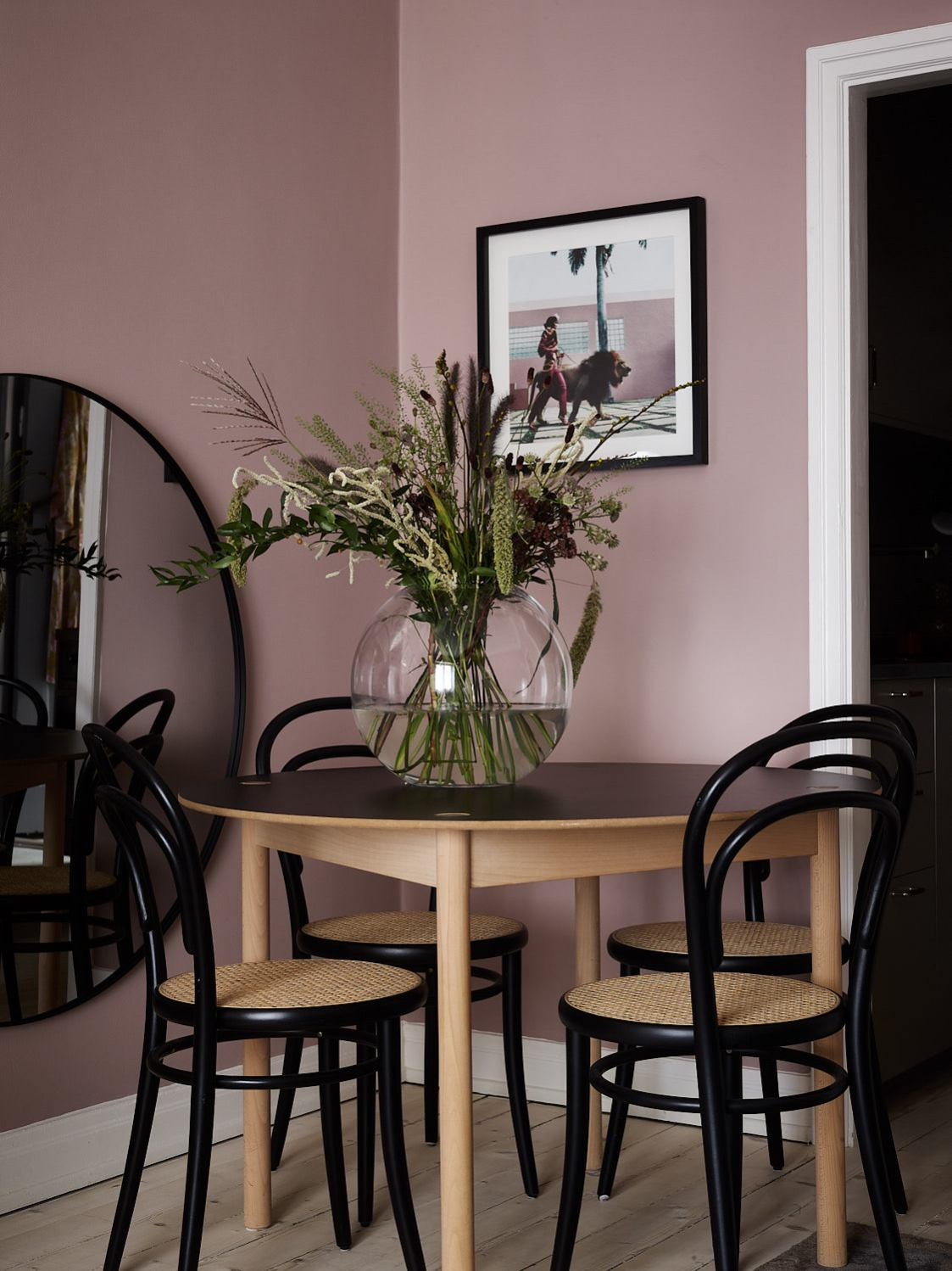 This warm pink works well with black accents. Photo Credit: Frederik Boukari