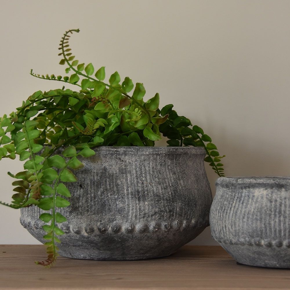 Ribbed Planter Grey Wash