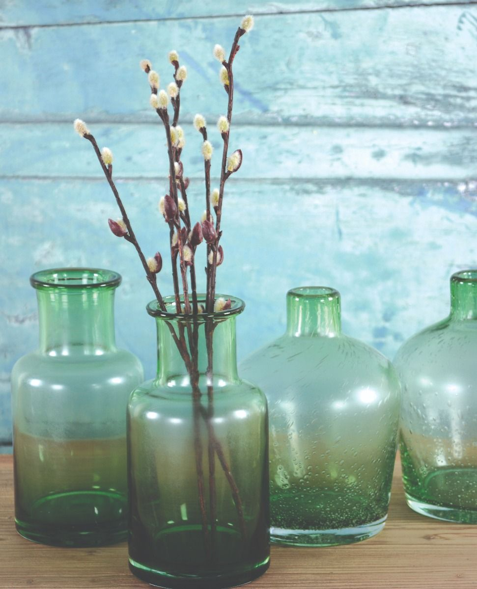 Glass Botanical Vase Green