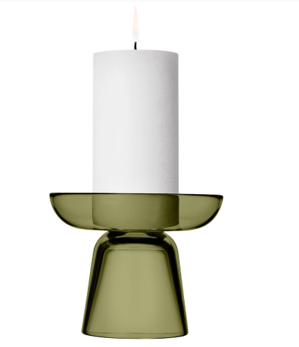 Contemporary Candleholder - Candle holders often lean towards a traditional look, but this muted green glass holder by Iittala is modern Scandi. Perfect for a single block piller candle, it sits at an elegant 10cm tall.Nappula Candle Holder - Moss Green, £58, Iittala via Amara