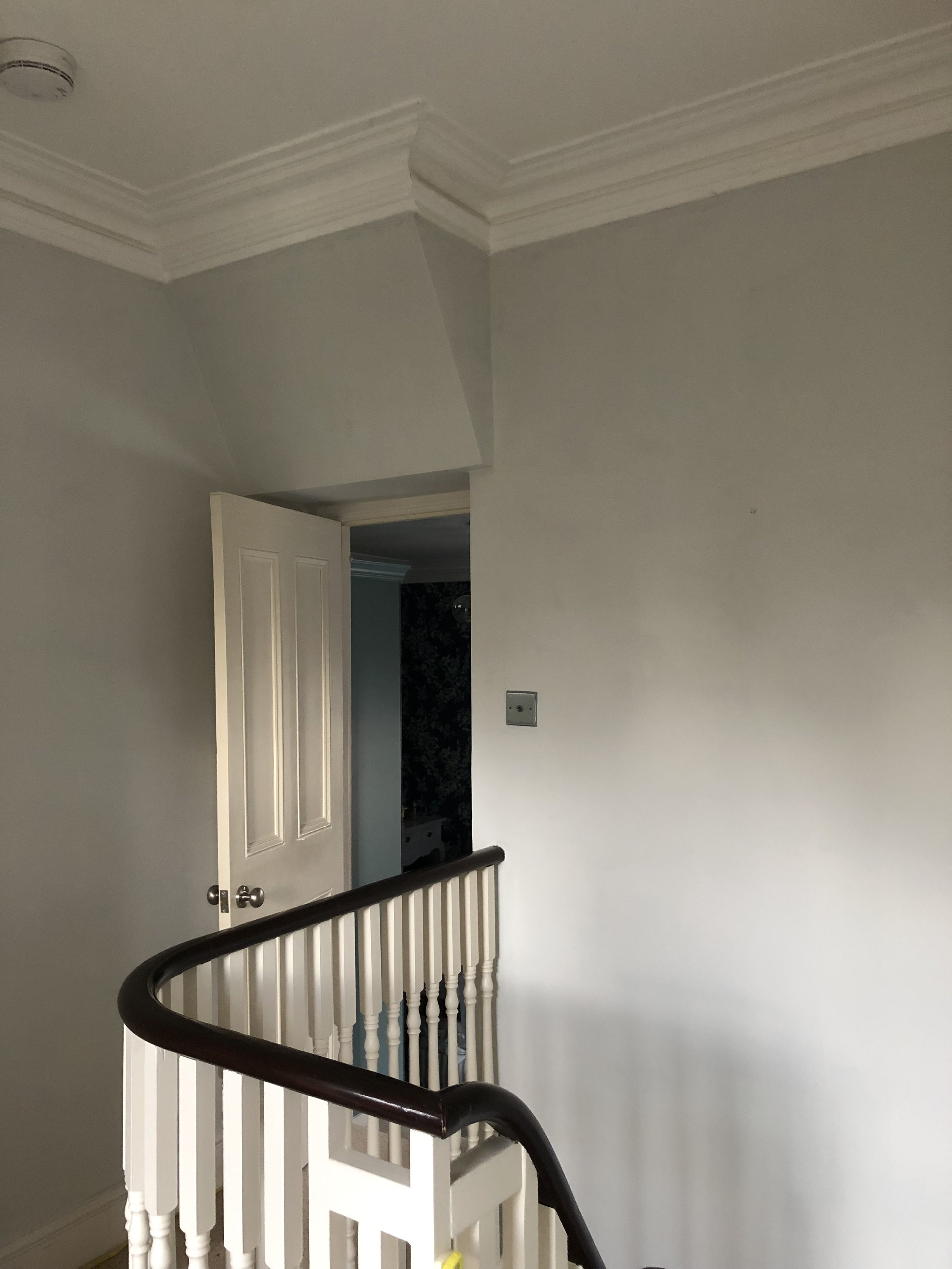 The hallway walls with just one coat of 'English Plaster' by M&L Paints… -