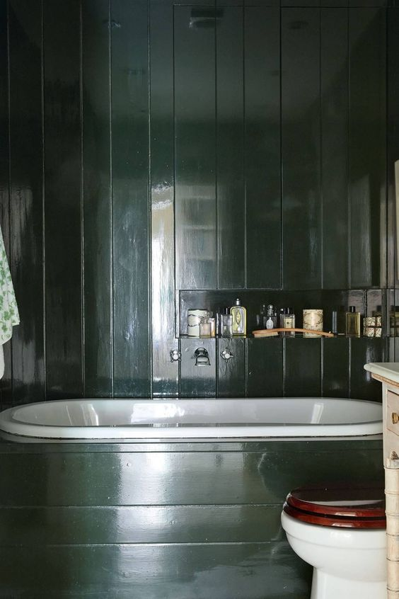 This gloss paint is Deep Brunswick Green' from    Papers and Paints    in the London home of journalist Rita Konig. Image Credit: Paul Massey for House and Garden Magazine.